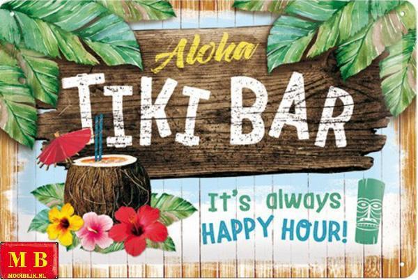 Aloha Tiki Bar Happy Hour Metalen wandbord 20 x 30 cm.