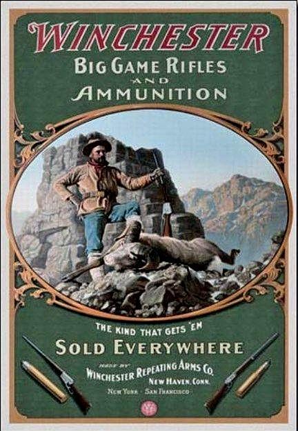 Winchester Big Game Rifles Metalen wandbord 31,5 x 40,5 cm.