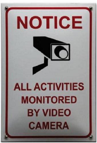 Notice all activities monitored Emaille bordje 20 x 30 cm.