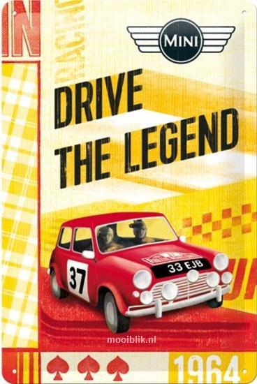 Mini Drive The Legend  Metalen Wandbord in reliëf 20 x 30 cm