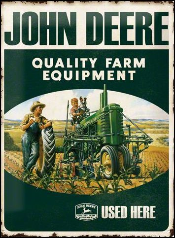John Deere Quality farm equipment Metalen wandbord in relief 40 x 30 cm