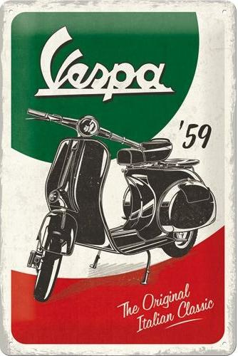 Vespa Italian Classic Metalen wandbord in reliëf 20 x 30 cm.