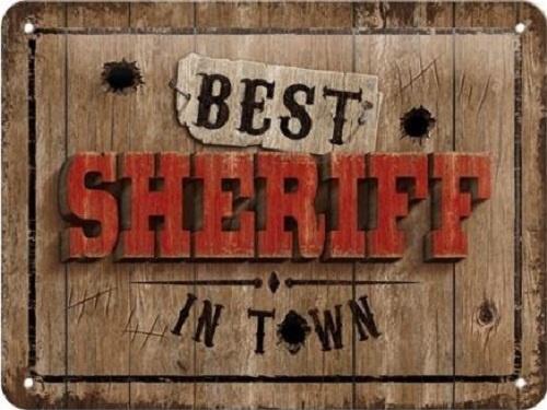 Best Sheriff in Town Metalen wandbord in reliëf 15 x 20 cm.