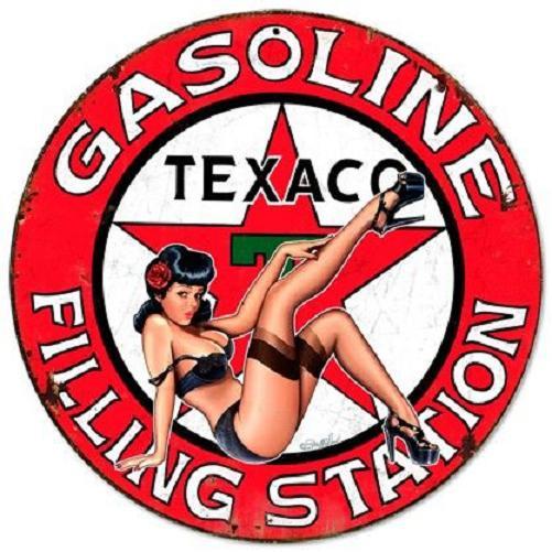 Texaco Gasoline Filling  Station Pin Up Stalen wandbord 35,5 cm rond.