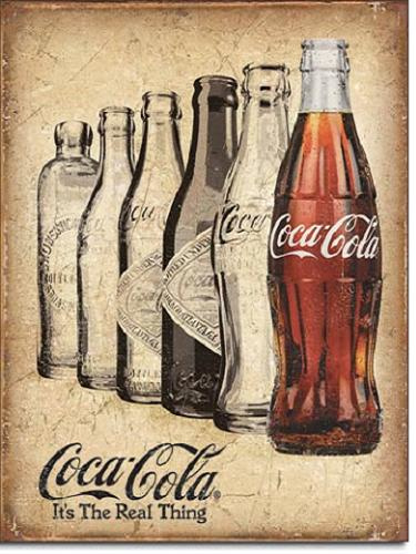 Coca Cola The Real Thing  Metalen wandbord 31,5 x 40,5 cm.