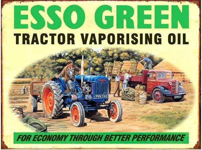 Esso Green Fordson Metalen wandbord30 x 40 cm.