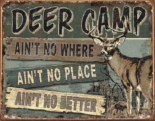 Deer Camp Metalen wandbord 31,5 x 40,5 cm.