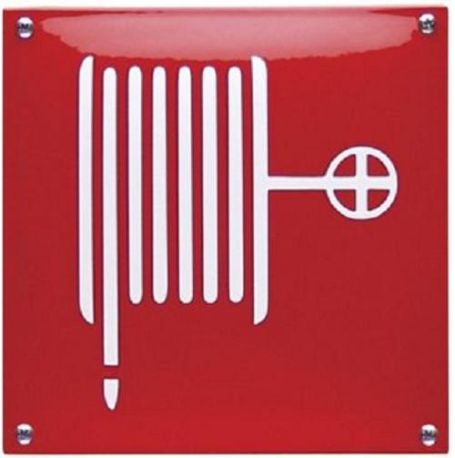 Brandslang Emaille bordje 20 x 20 cm.