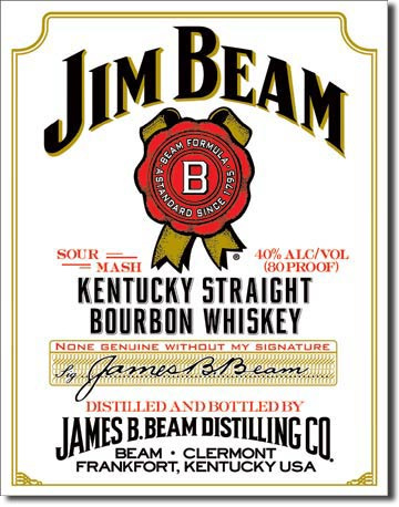 Jim Beam - White Label Metalen wandbord 40,5 x 31,5 cm.