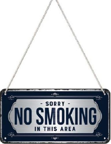 No Smoking. Metalen wandbord 10 x 20 cm.