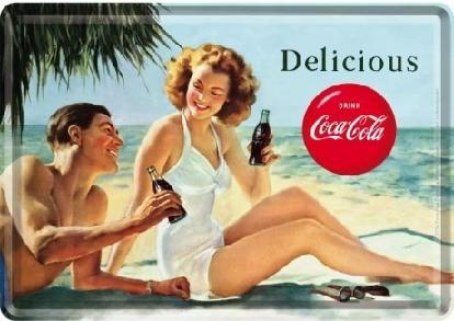Coca-Cola - Beach Couple Metalen Postcard 10 x 14 cm.