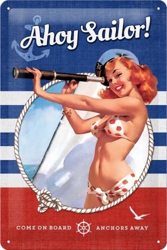 Ahoy Sailor ! Metalen wandbord in reliëf 20 x 30 cm