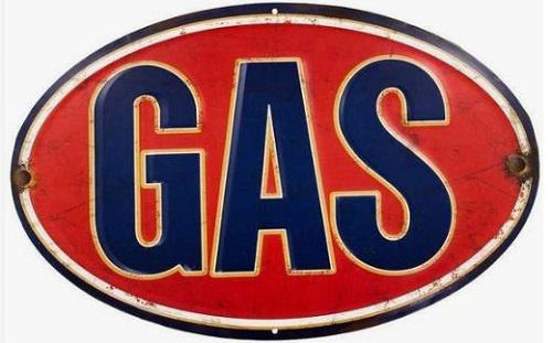 GAS.  Metalen wandbord 33 x 57 cm.