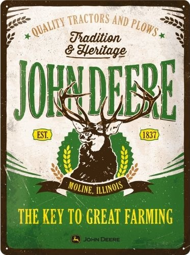 John Deere - Tradition & Heritage .  Metalen wandbord in reliëf 30 x 40 cm.
