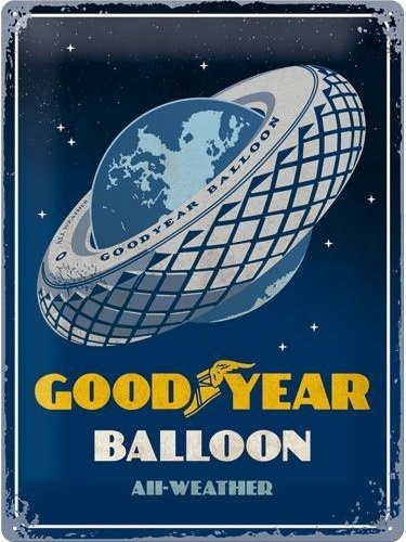 Goodyear Balloon Metalen wandplaat in relief 40 x 30 cm