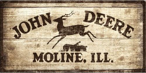 John Deere Moline , ill . Metalen wandbord in reliëf 25 x 50 cm.