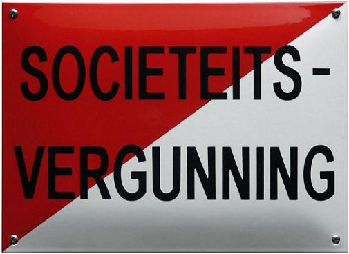 Societeits-Vergunning Emaille bordje 32 x 22 cm.
