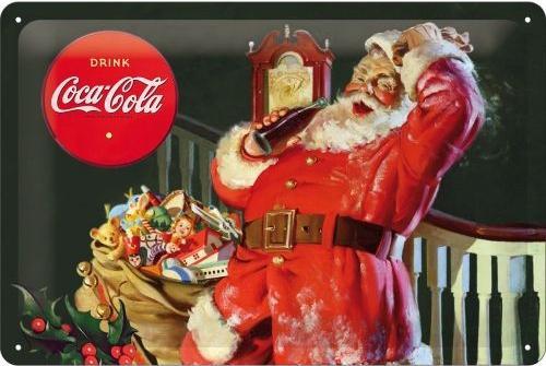 Kerstman Coca Cola (1) Metalen wandbord in reliëf 20 x 30 cm.