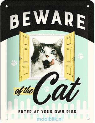 Beware of the Cat Metalen wandbordin reliëf15x20 cm