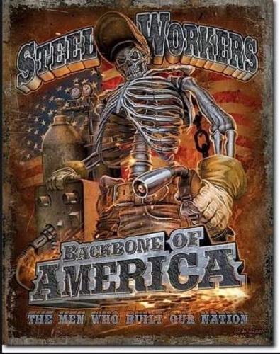 Steel Workers Backbone.   Metalen wandbord 31,5 x 40,5 cm.
