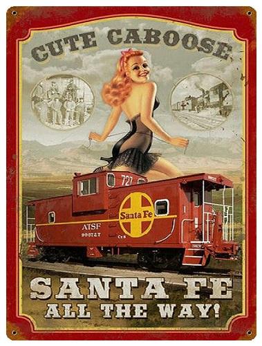 Cute Caboose Santa Fe.  Metalen wandbord 40 x 30 cm.