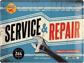 Service & Repair Metalen wandbord in reliëf 15x20 cm
