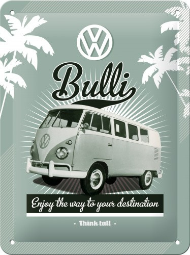 VW Bulli  Metalen wandbordin reliëf15x20 cm