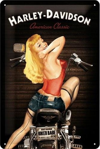 Harley-Davidson American Classic Red Babe Metalen wandbord in reliëf 20 x 30 cm