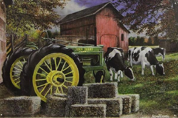 Cows and John Deere Metalen wandbord 30 x 45 cm.