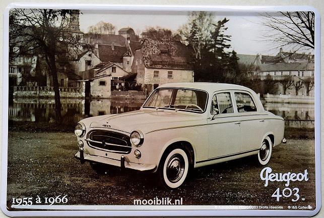 Peugeot 403 1955 a 1966 Metalen wandbord 20 x 30 cm