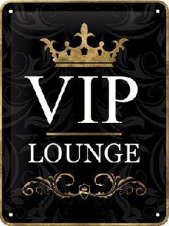 V.I.P. Lounge Metalen wandbordin reliëf15 x 20 cm.