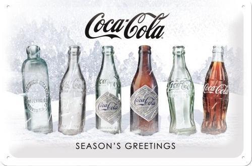 Coca Cola Season's Greetings (2)  Metalen wandbord in reliëf 20 x 30 cm.