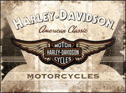 Harley Davidson American classic logo Metalen wandbord in relief 40 x 30 cm