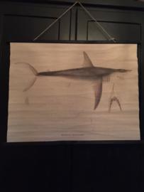 poster haai op doek 100 x 76 cm