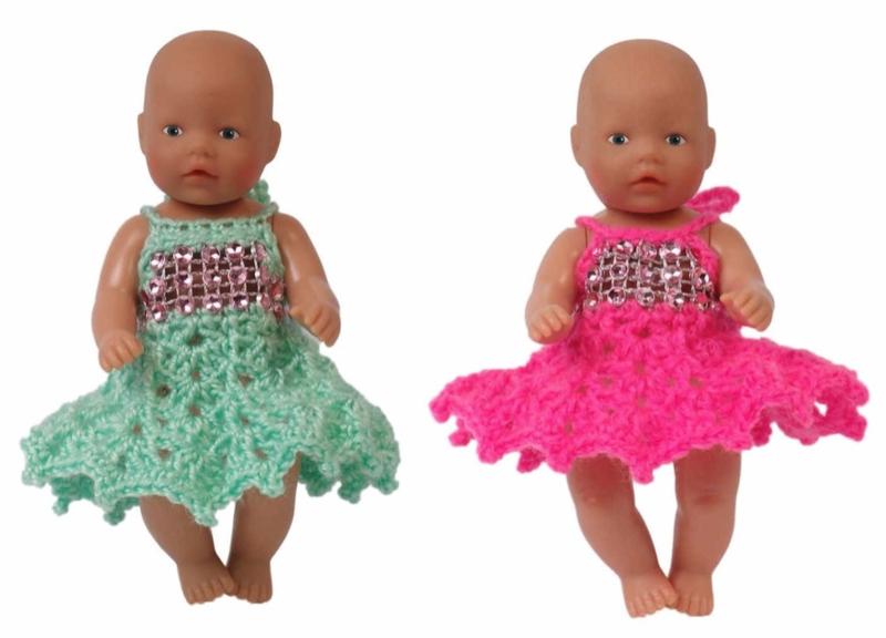 Gratis patronen poppenjurkjes haken voor de kleinste (11 cm) Baby Born