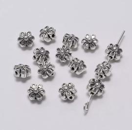 #12 Tibetan Beads Flower Silver /set 50 stuks