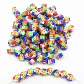 Polymer Rainbow Flower Smile (30 stuks)