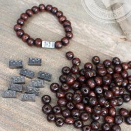 Houten kralen Borneo 6mm 40 gram