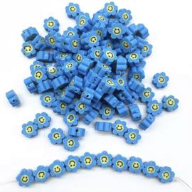 Polymer Flower Smile Blue (30 stuks)