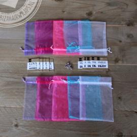 Kadozakjes met zilveren afsluitkraal & labels