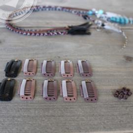 Clip-inn benodigdheden Hairwraps 'Leather' set 10 stuks