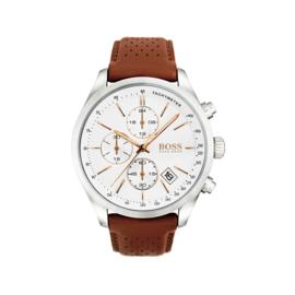 Hugo Boss uurwerk met witte wijzerplaat en bruin lederen band