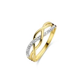 geelgouden ring gezet met briljant
