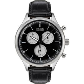 Hugo Boss uurwerk met zwarte wijzerplaat en zwart lederen band