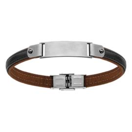 Armband zwart leder met stalen graveerplaat 127857