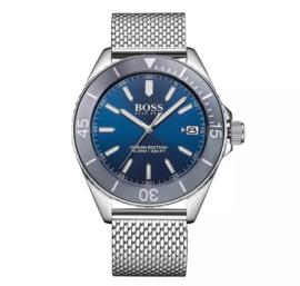 Hugo Boss uurwerk met blauwe wijzerplaat en stalen milanese band