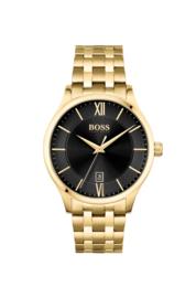 Hugo Boss uurwerk met zwarte wijzerplaat, goudkleurig