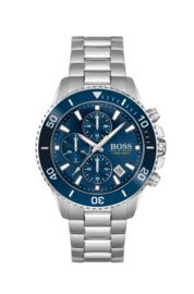 Hugo Boss uurwerk met blauwe wijzerplaat en stalen band
