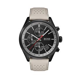 Hugo Boss uurwerk met zwarte wijzerplaat en beige lederen band