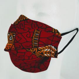 Niet-medisch mondkapje Afrikaanse print | Donkerrode batik